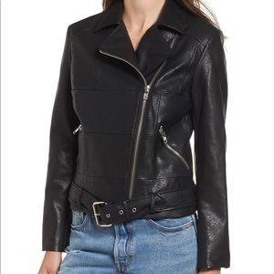 Black BB Dakota belted moto jacket